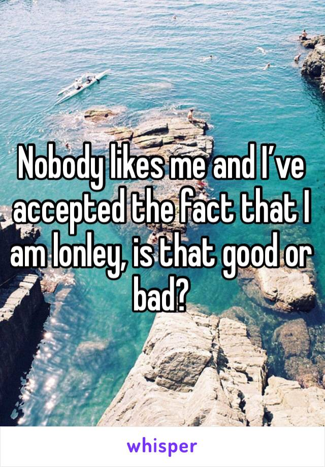 Nobody likes me and I've accepted the fact that I am lonley, is that good or bad?