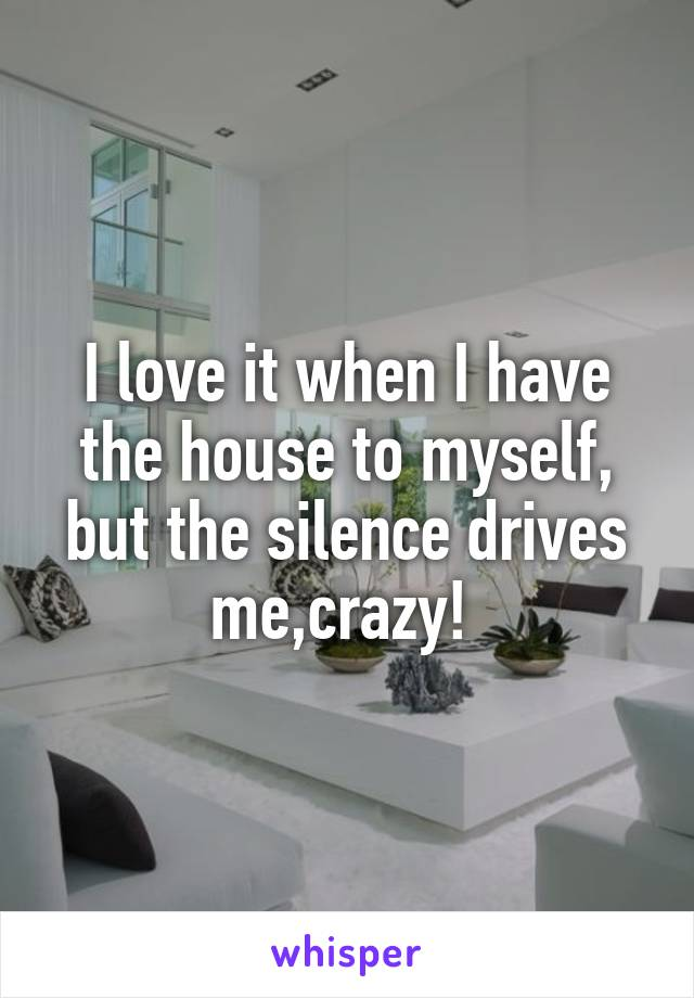 I love it when I have the house to myself, but the silence drives me,crazy!