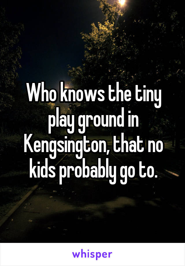Who knows the tiny play ground in Kengsington, that no kids probably go to.