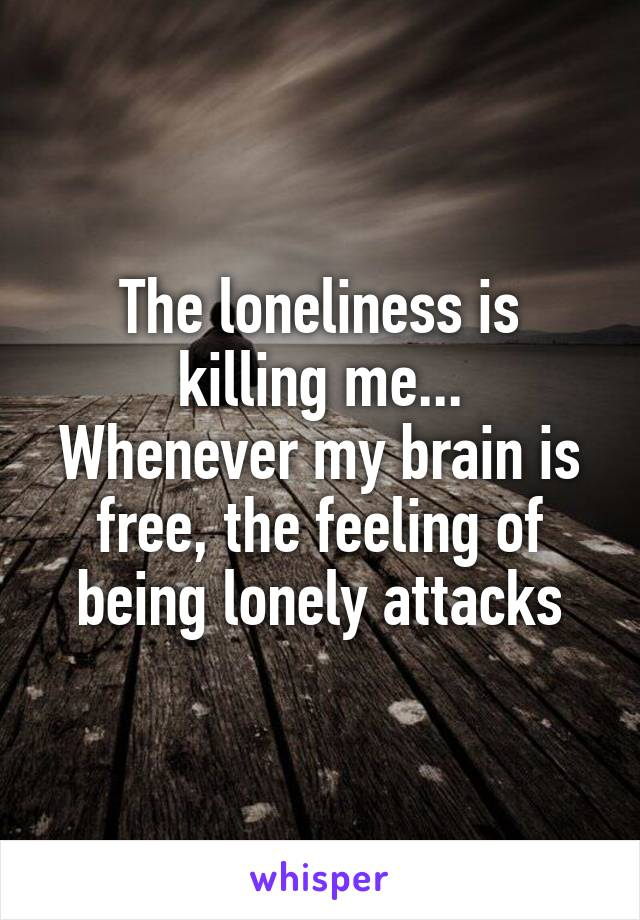 The loneliness is killing me... Whenever my brain is free, the feeling of being lonely attacks