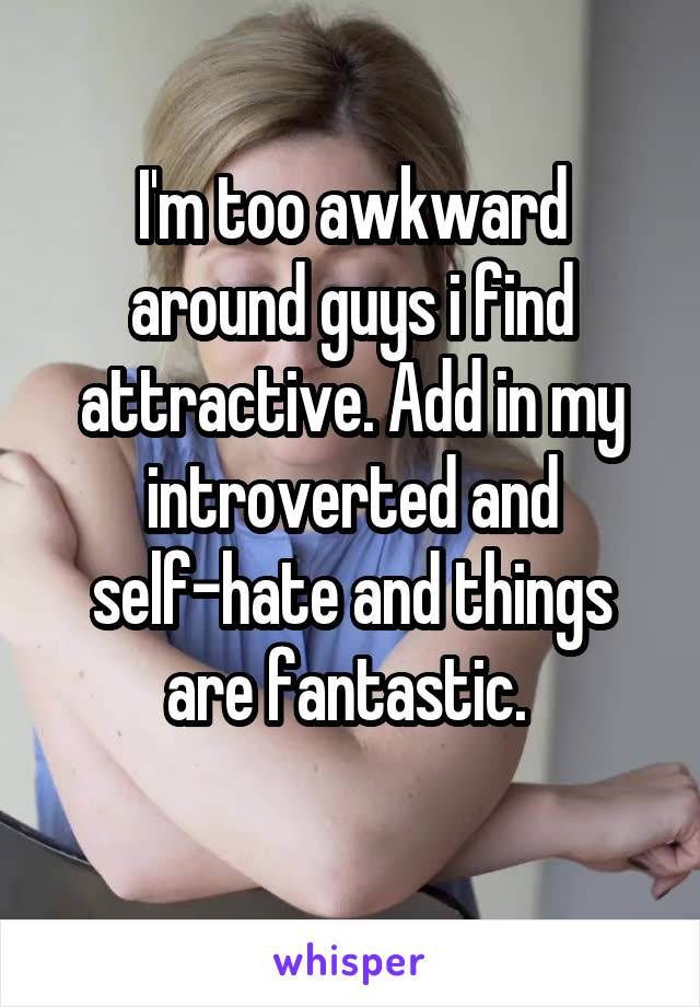 I'm too awkward around guys i find attractive. Add in my introverted and self-hate and things are fantastic.