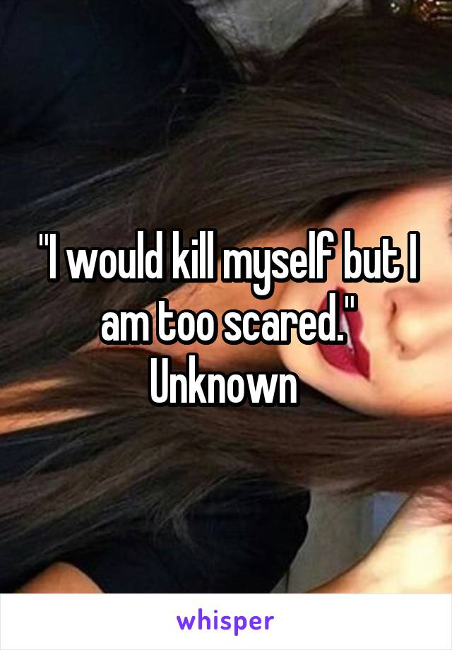 """I would kill myself but I am too scared."" Unknown"