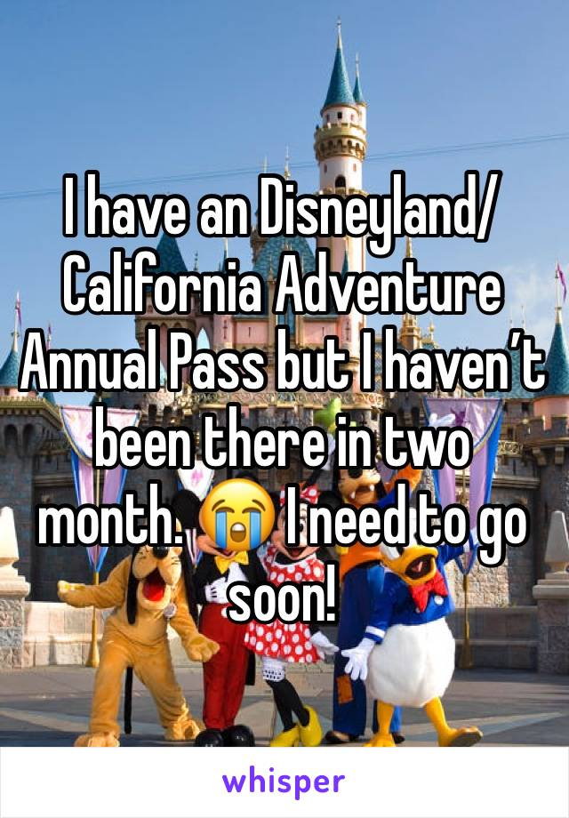 I have an Disneyland/California Adventure Annual Pass but I haven't been there in two month. 😭 I need to go soon!