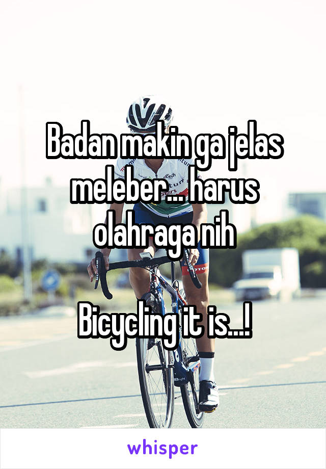 Badan makin ga jelas meleber... harus olahraga nih  Bicycling it is...!