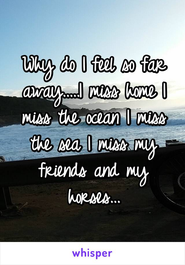 Why do I feel so far away.....I miss home I miss the ocean I miss the sea I miss my friends and my horses...