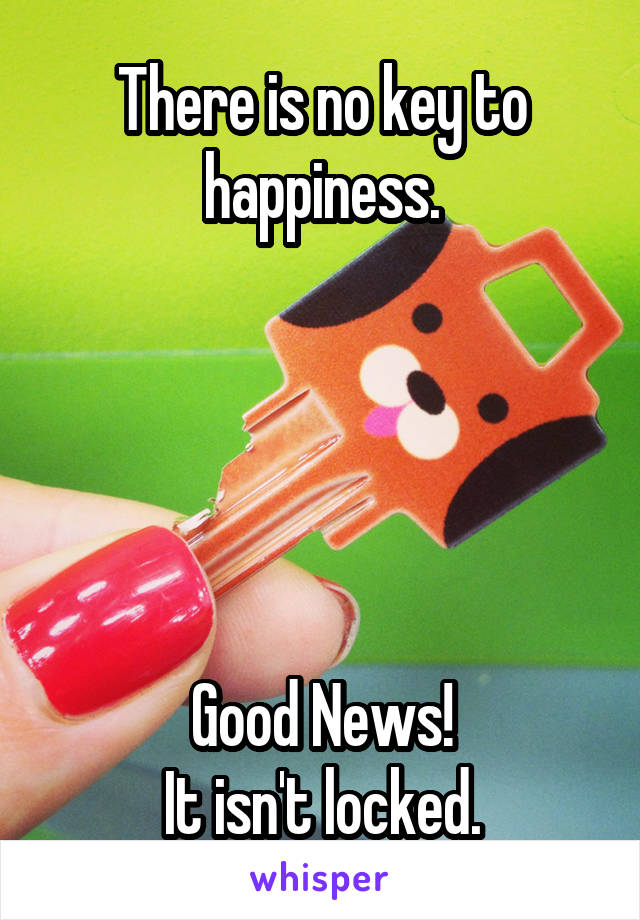There is no key to happiness.      Good News! It isn't locked.