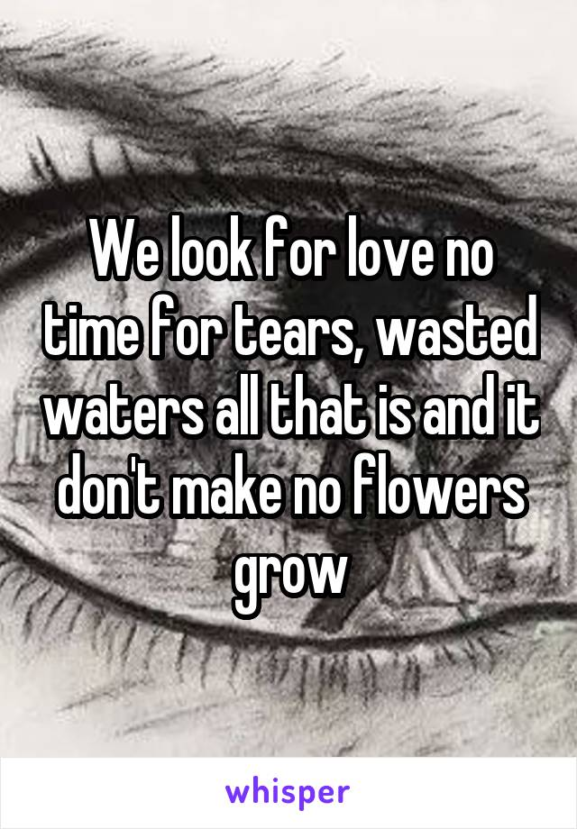 We look for love no time for tears, wasted waters all that is and it don't make no flowers grow