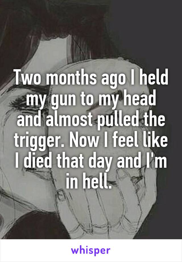 Two months ago I held my gun to my head and almost pulled the trigger. Now I feel like I died that day and I'm in hell.