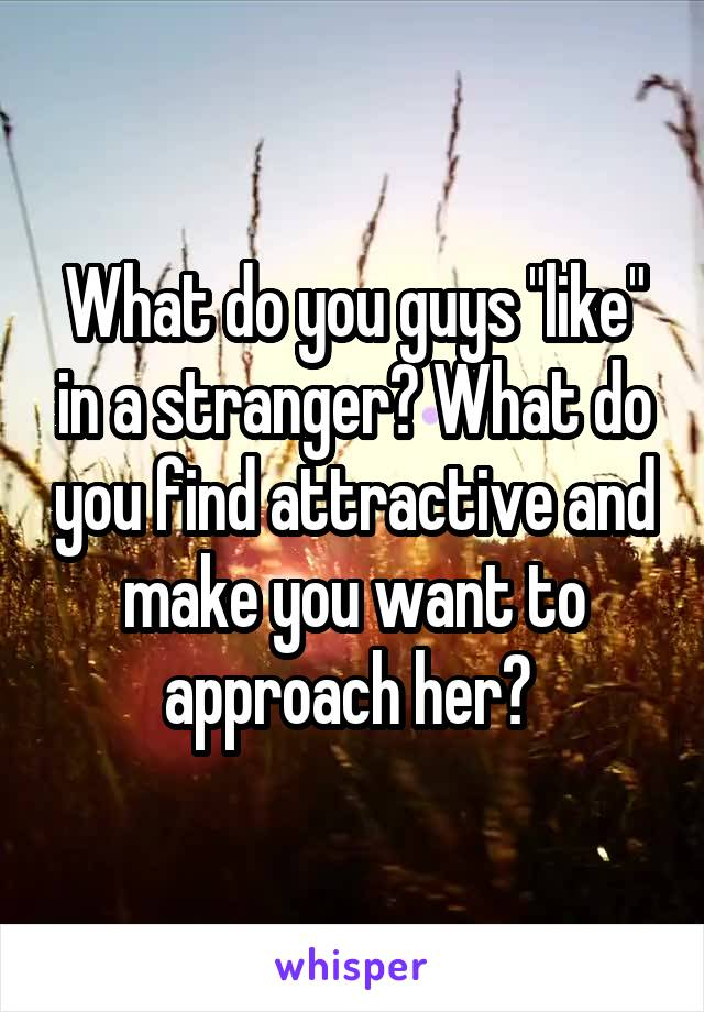 "What do you guys ""like"" in a stranger? What do you find attractive and make you want to approach her?"