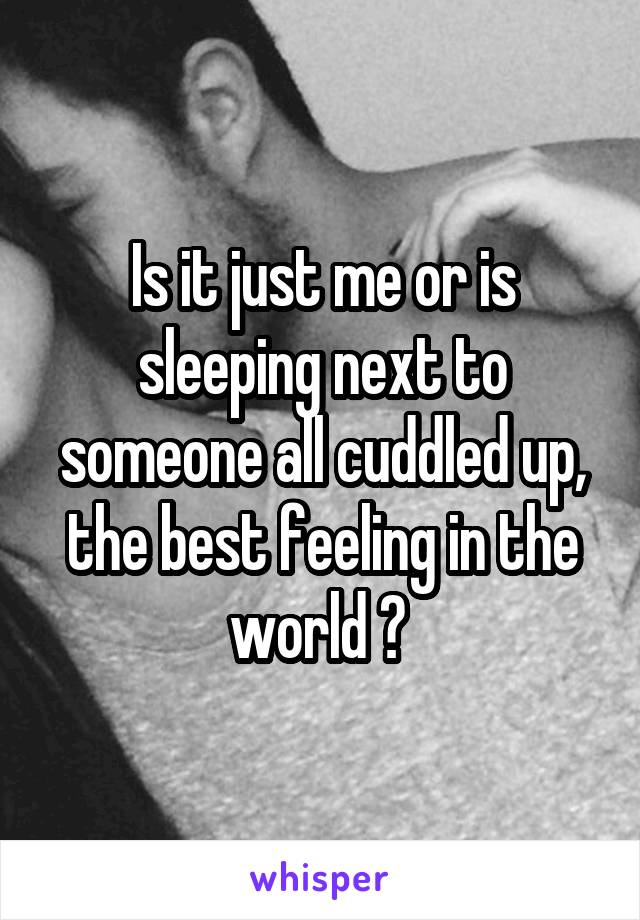 Is it just me or is sleeping next to someone all cuddled up, the best feeling in the world ?