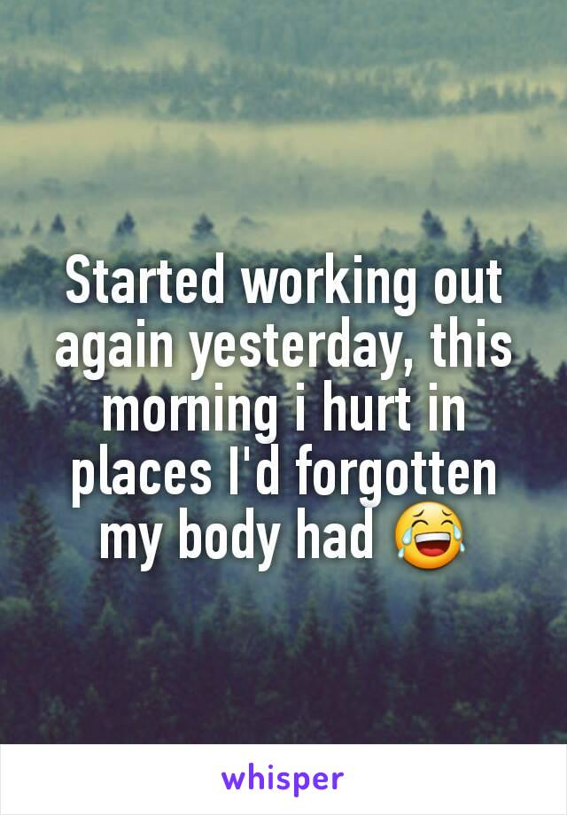 Started working out again yesterday, this morning i hurt in places I'd forgotten my body had 😂