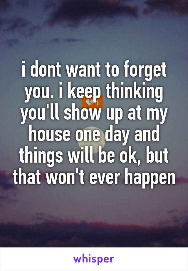 i dont want to forget you. i keep thinking you'll show up at my house one day and things will be ok, but that won't ever happen