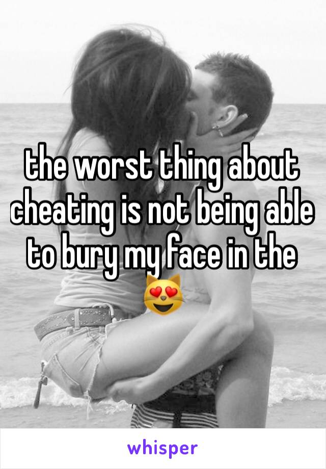 the worst thing about cheating is not being able to bury my face in the 😻
