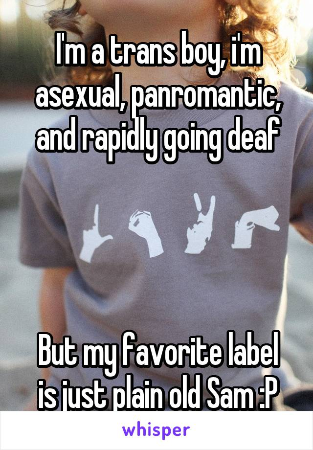 I'm a trans boy, i'm asexual, panromantic, and rapidly going deaf     But my favorite label is just plain old Sam :P