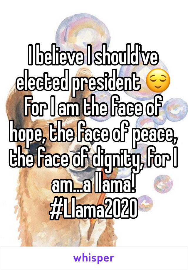 I believe I should've elected president 😌 For I am the face of hope, the face of peace, the face of dignity, for I am...a llama! #Llama2020
