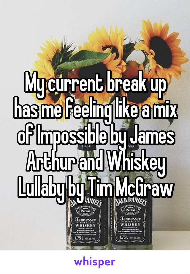 My current break up has me feeling like a mix of Impossible by James Arthur and Whiskey Lullaby by Tim McGraw