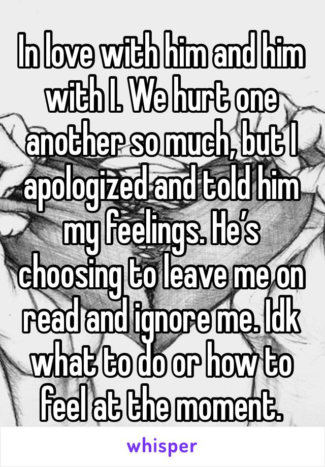 In love with him and him with I. We hurt one another so much, but I apologized and told him my feelings. He's choosing to leave me on read and ignore me. Idk what to do or how to feel at the moment.
