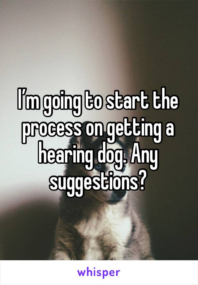 I'm going to start the process on getting a hearing dog. Any suggestions?