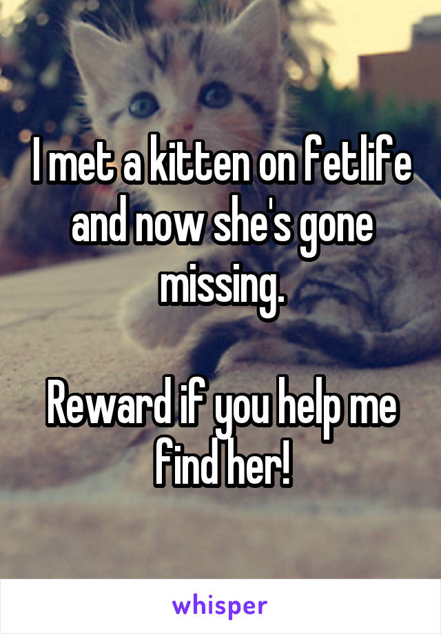 I met a kitten on fetlife and now she's gone missing.  Reward if you help me find her!