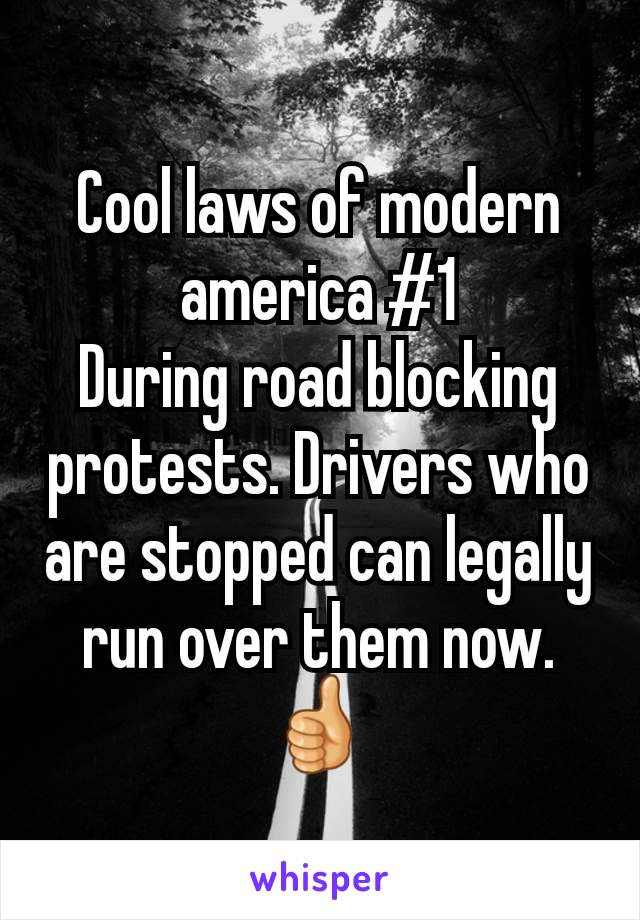 Cool laws of modern america #1 During road blocking protests. Drivers who are stopped can legally run over them now. 👍