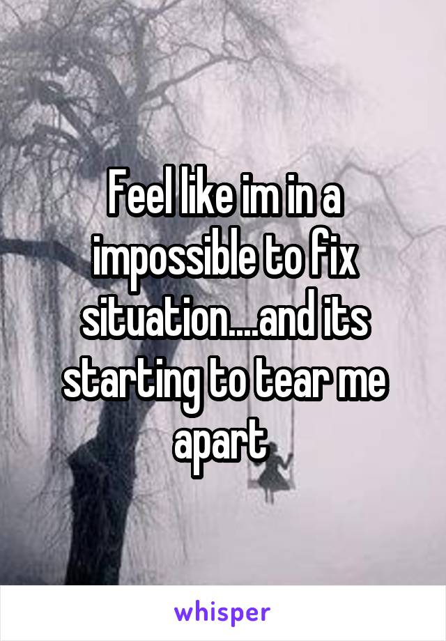 Feel like im in a impossible to fix situation....and its starting to tear me apart