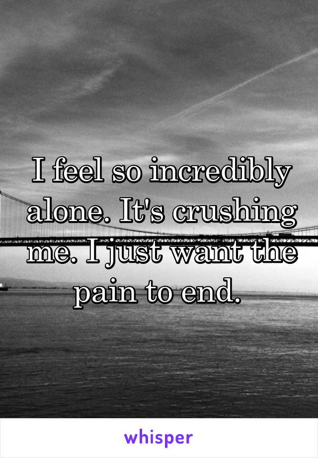I feel so incredibly alone. It's crushing me. I just want the pain to end.
