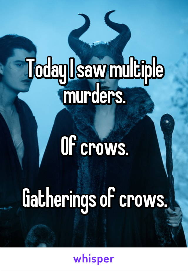 Today I saw multiple murders.  Of crows.  Gatherings of crows.