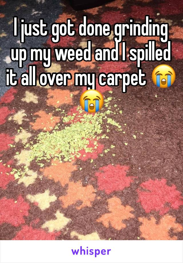 I just got done grinding up my weed and I spilled it all over my carpet 😭😭