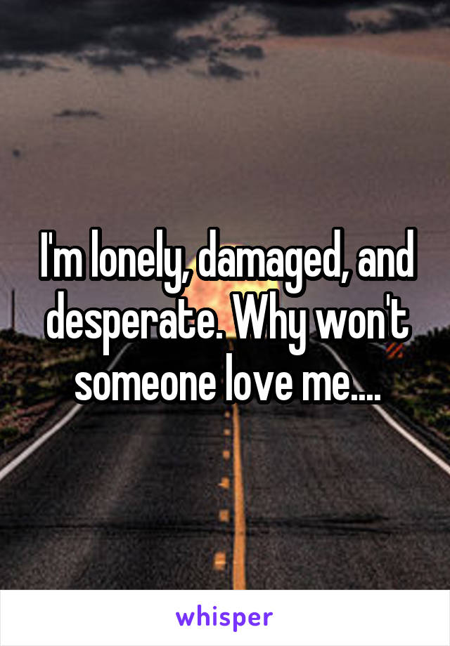 I'm lonely, damaged, and desperate. Why won't someone love me....