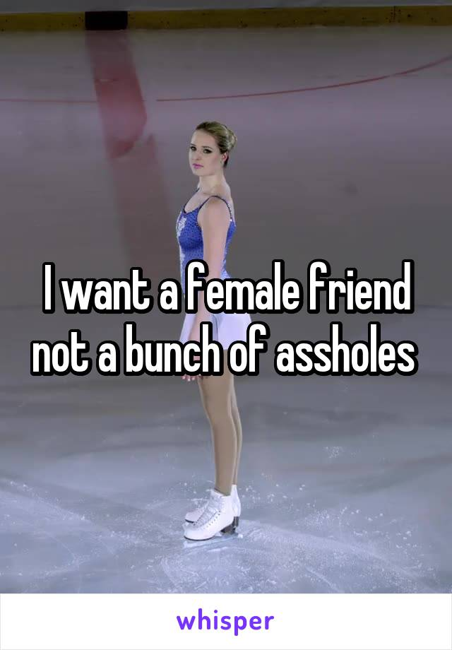 I want a female friend not a bunch of assholes