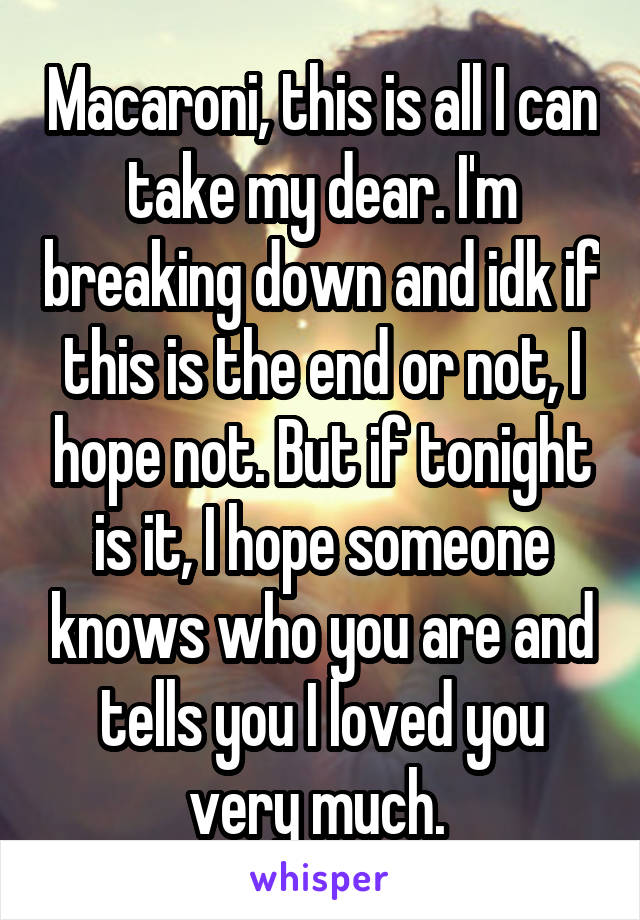 Macaroni, this is all I can take my dear. I'm breaking down and idk if this is the end or not, I hope not. But if tonight is it, I hope someone knows who you are and tells you I loved you very much.
