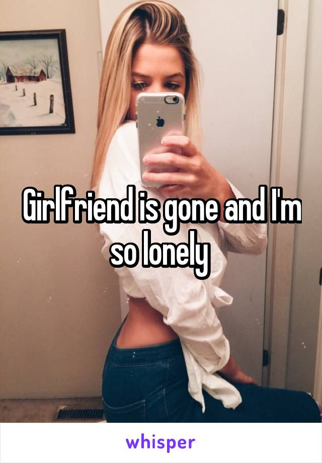 Girlfriend is gone and I'm so lonely