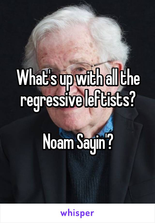 What's up with all the regressive leftists?  Noam Sayin'?