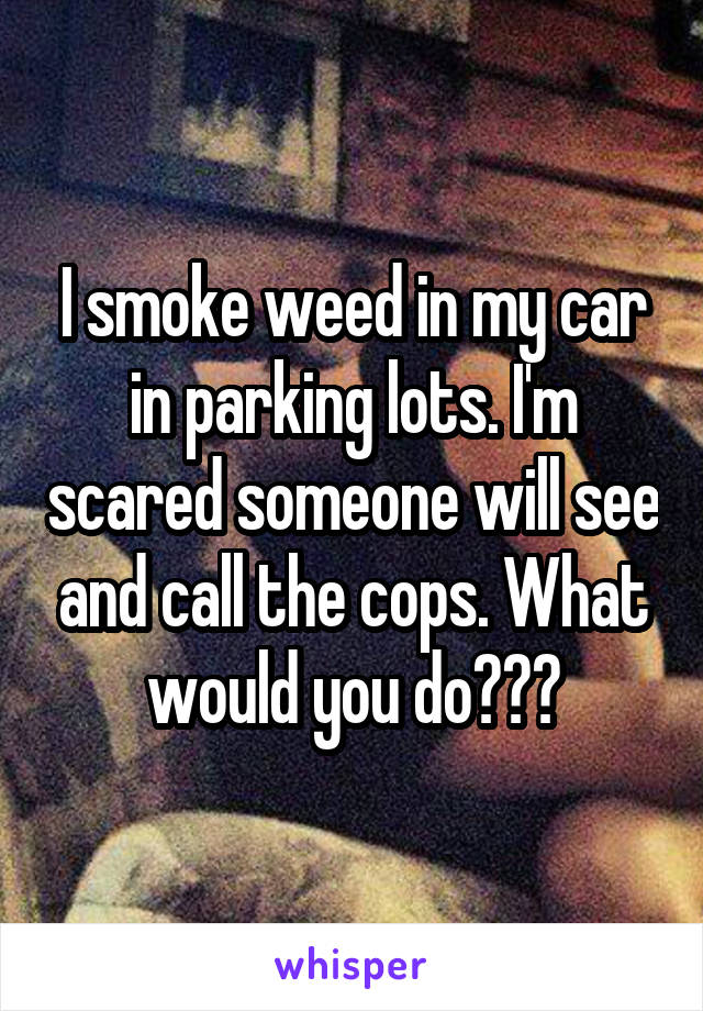 I smoke weed in my car in parking lots. I'm scared someone will see and call the cops. What would you do???