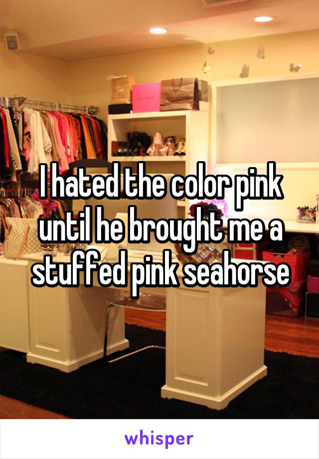 I hated the color pink until he brought me a stuffed pink seahorse