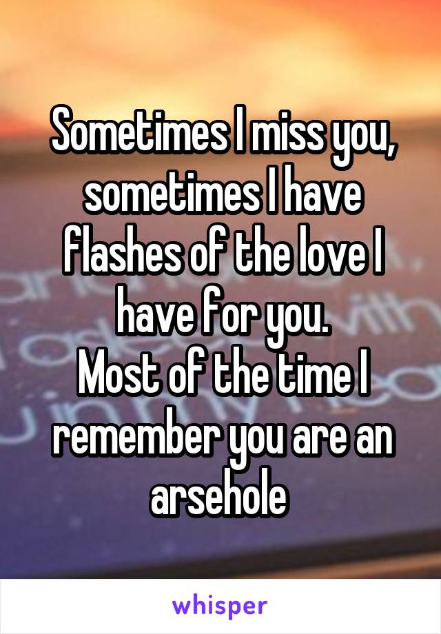 Sometimes I miss you, sometimes I have flashes of the love I have for you. Most of the time I remember you are an arsehole