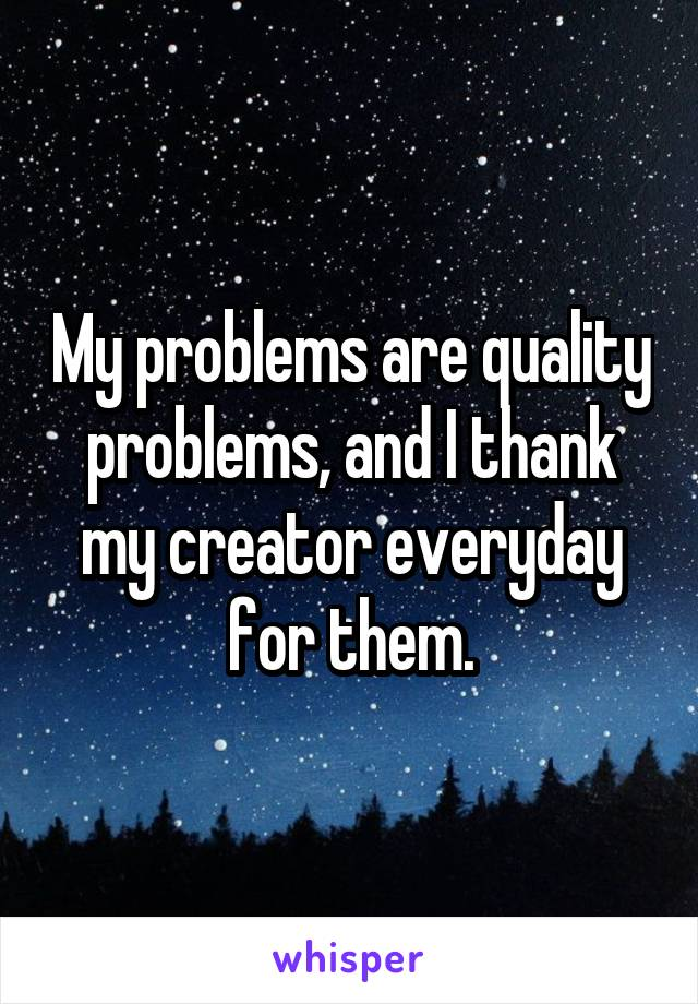 My problems are quality problems, and I thank my creator everyday for them.