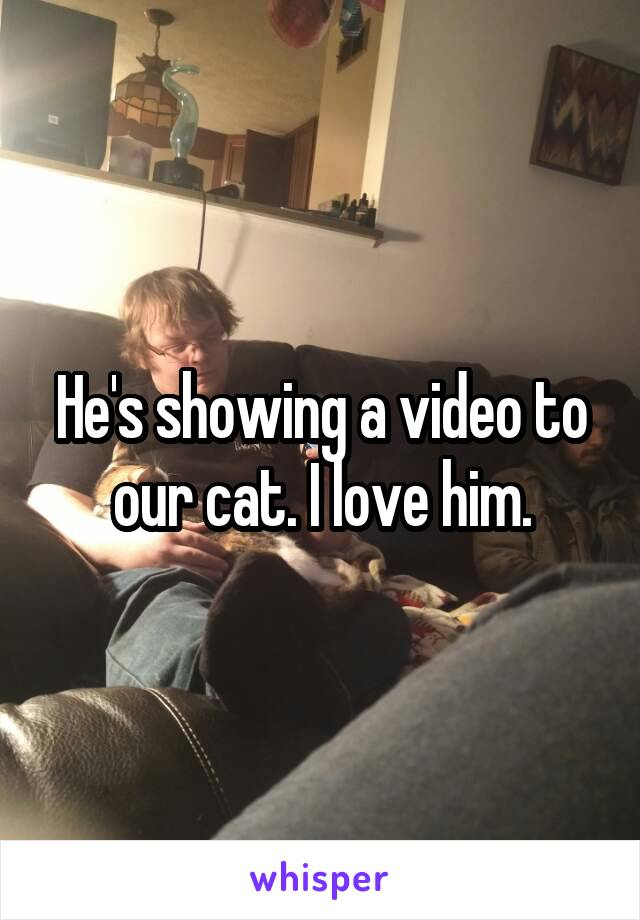 He's showing a video to our cat. I love him.
