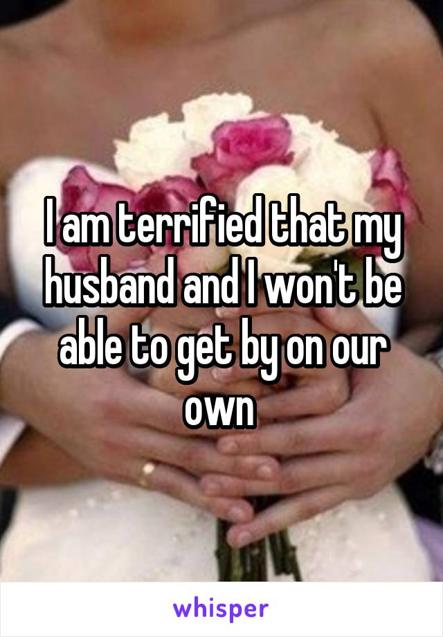 I am terrified that my husband and I won't be able to get by on our own