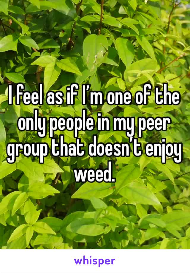 I feel as if I'm one of the only people in my peer group that doesn't enjoy weed.