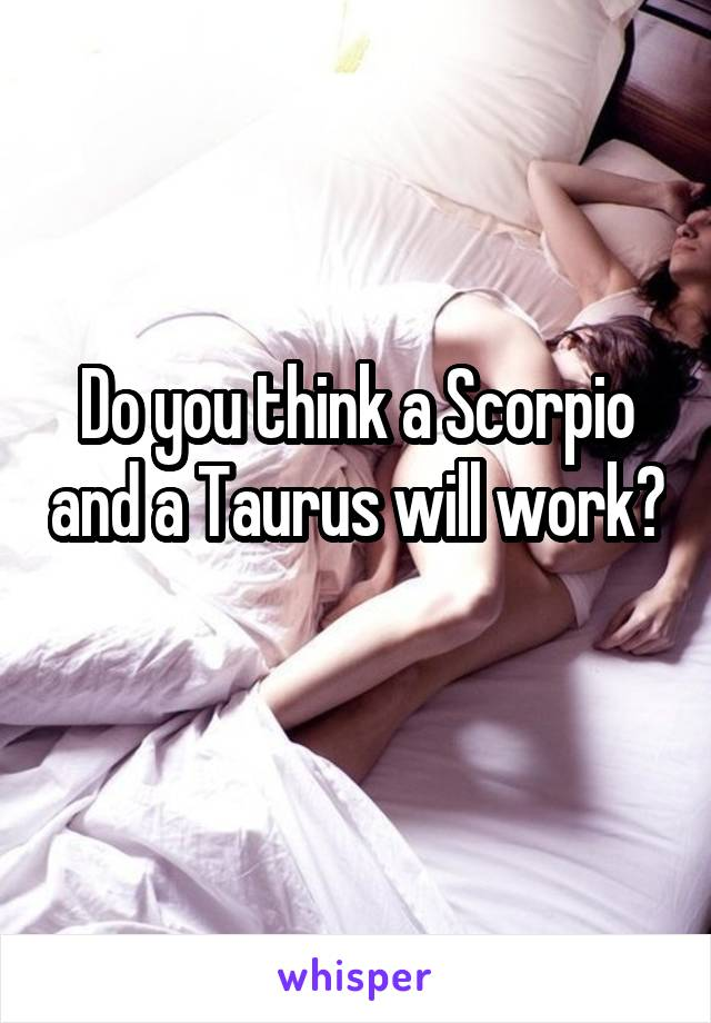 Do you think a Scorpio and a Taurus will work?