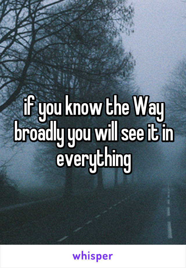 if you know the Way broadly you will see it in everything