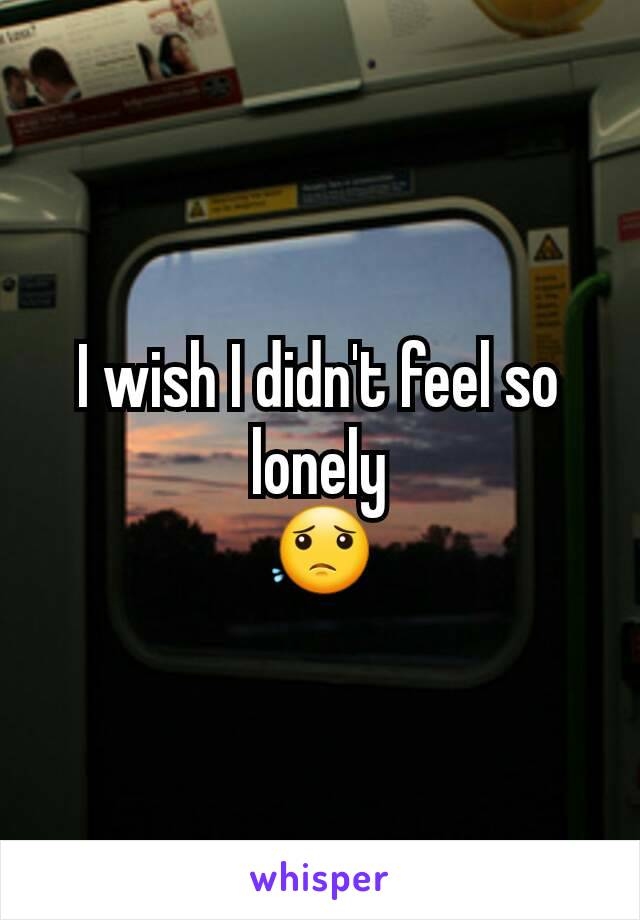 I wish I didn't feel so lonely 😟