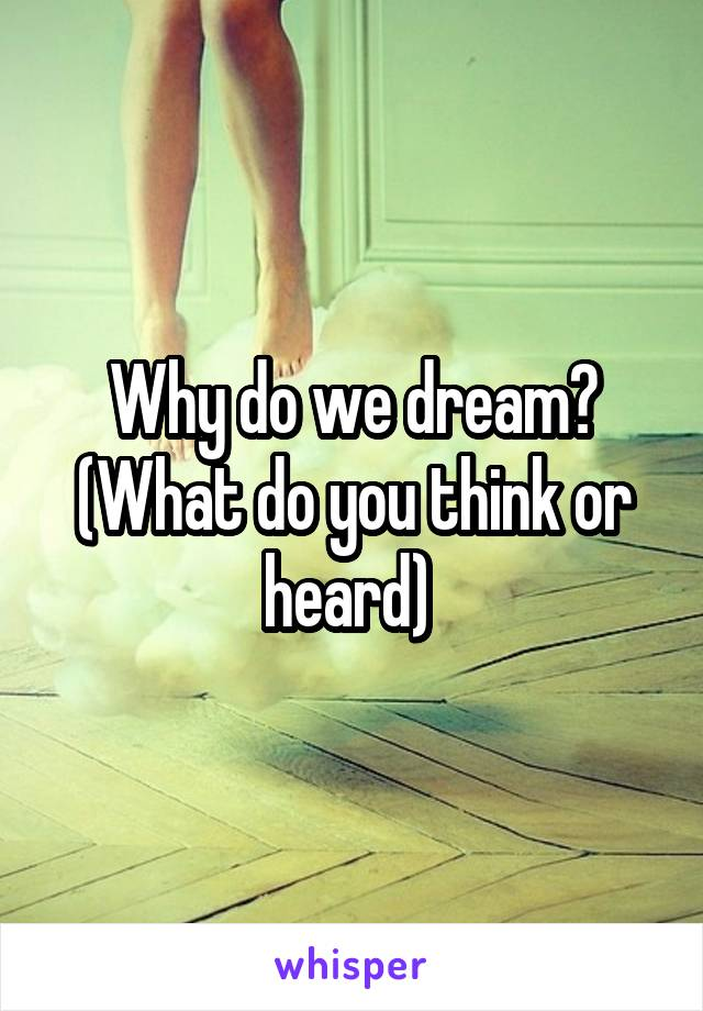 Why do we dream? (What do you think or heard)