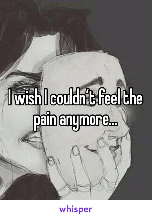 I wish I couldn't feel the pain anymore...