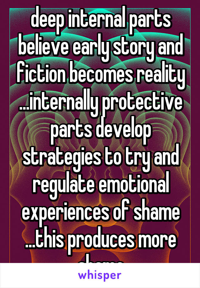 deep internal parts believe early story and fiction becomes reality ...internally protective parts develop strategies to try and regulate emotional experiences of shame ...this produces more shame