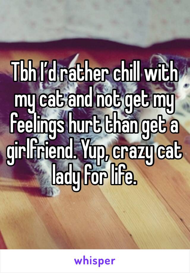 Tbh I'd rather chill with  my cat and not get my feelings hurt than get a girlfriend. Yup, crazy cat lady for life.