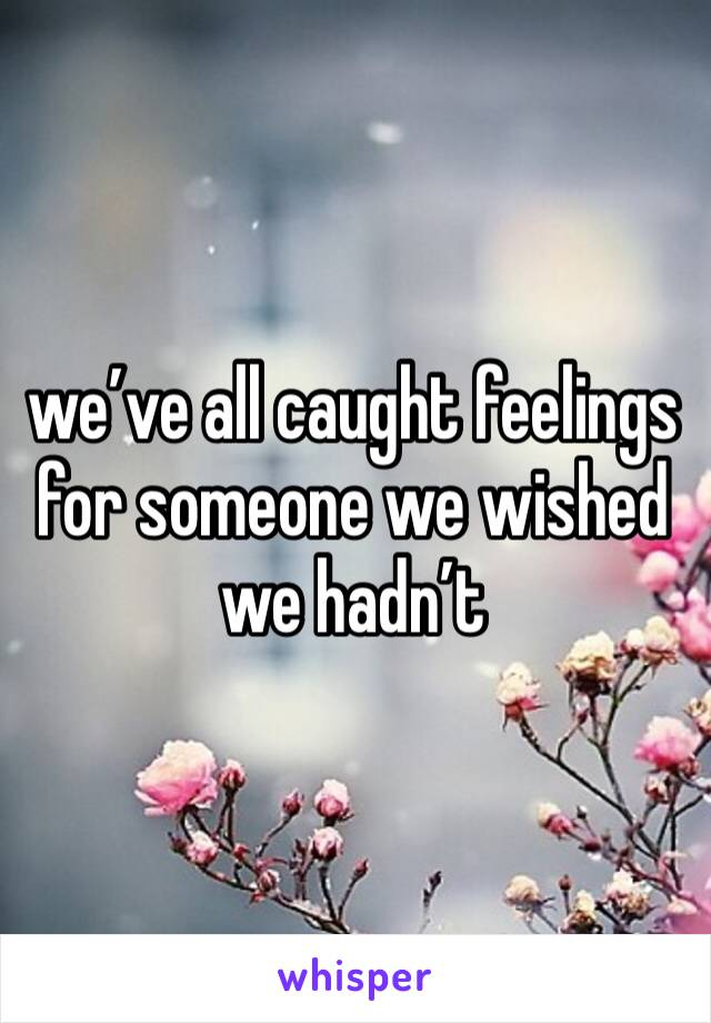 we've all caught feelings for someone we wished we hadn't