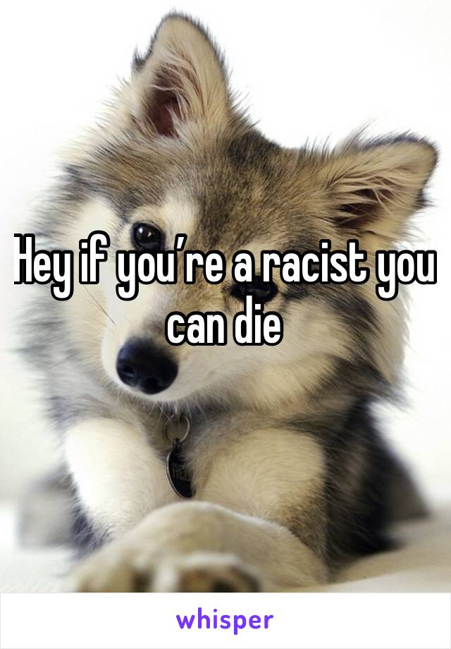 Hey if you're a racist you can die