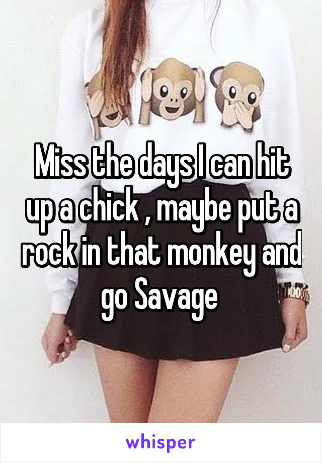 Miss the days I can hit up a chick , maybe put a rock in that monkey and go Savage